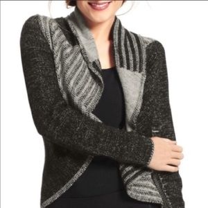 CAbi Wool Blend Patchwork Open Front Cardigan